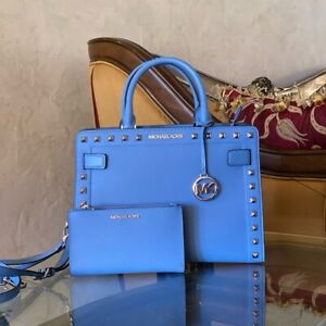 NWT-Michael-Kors-Studded-Rayne-Leather-Satchel-Handbag-Wallet-French-blue