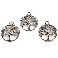 100x Wholesale Antique Silver Tree of Life Round Charms Jewelry Hollow Pendant L