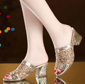Womens Sexy Slip On Sequins Slippers Shoes Sequins On Open Toe Chunky Heel Sandals Size New 4f6830