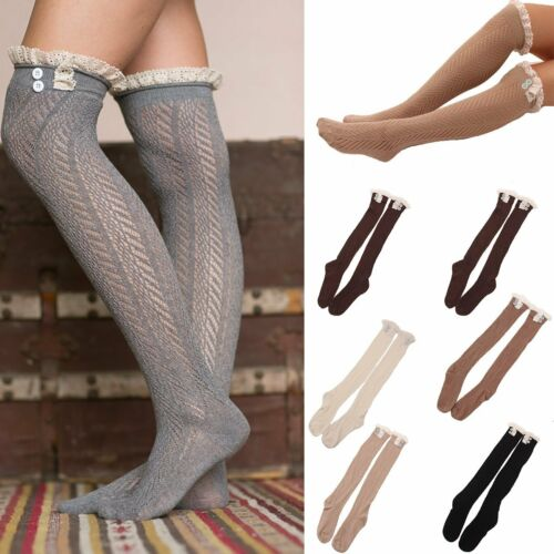 Women Winter Lace Cable Knit Over Knee Long Boot Thigh-High Warm Socks Leggings