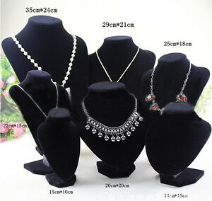 Velvet-Necklace-Pendant-Chain-Jewelry-Bust-Display-Holder-Stand-Brand-WD