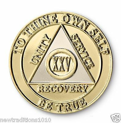 YRS 1-45 Shiny Gold Finish AA Anniversary Recovery Coin//Chip//Medallion