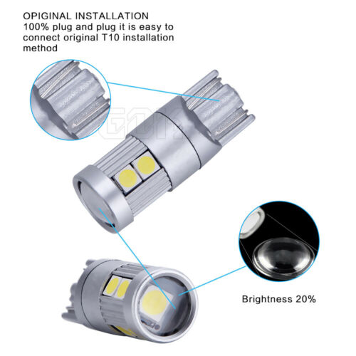 2 x 9 SMD LED CANBUS ERROR FREE CAR SIDE LIGHT BULBS T10 W5W 501 194 PURE WHITE