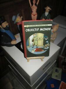Hergé-Tintin objectif Monde-Numérotée-100 exemplaires-Mini Bd toilée-Introuvable