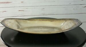 World-Silver-On-Copper-12-5-034-x-7-034-Oval-Silver-Plate-Bread-Serving-Tray-Platter