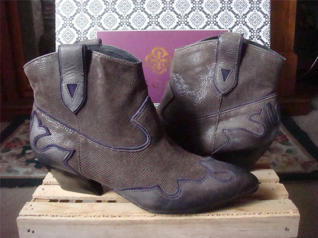 NIB ISOLA ODIN TAUPE BROWN LEATHER & SUEDE FASHION WESTERN ANKLE BOOTSSZ 8.5 8