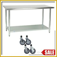 30 X 60 Stainless Steel Work Table Kitchen Prep Commercial With 4 Caster Wheels