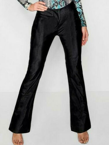 Ladies Matte PU Snake Kick Flare Leather Look Trousers Size 14 BNWT WTMay07-1