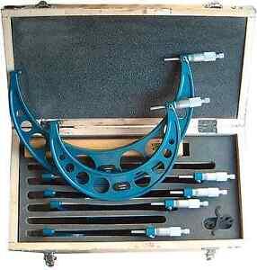 Buegelmessschrauben-Satz-6-Stueck-150-300-mm-mit-Endmassen-NEU-OVP-Mikrometer