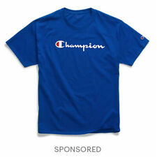 T-Shirt Mens Champion Jersey Tee Classic Script Logo Athletic Fit 100% Cotton