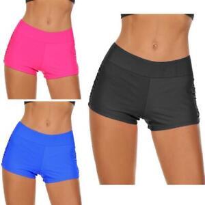 Women-Mid-Waist-Solid-Ruched-Swim-Boyshorts-Bikini-Bottom-Swimwear-EH7E