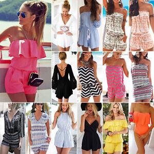 Damen-Urlaub-Mini-Playsuit-Damen-Jumpsuit-Strampler-Sommer-Strand-Kleid-Groesse-6-14