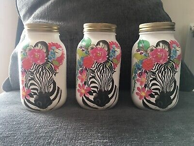 Tea Coffee Sugar Canisters Zebra