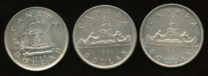 Lot-of-Three-Silver-Dollars-1949-1950-1951-Nice-Condition