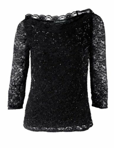 negro Ashley Brooke señora Designer-puntas camisa con lentejuelas
