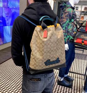 Coach Men's Signature Terrain Drawstring Backpack Bag Khkai Signature | eBay