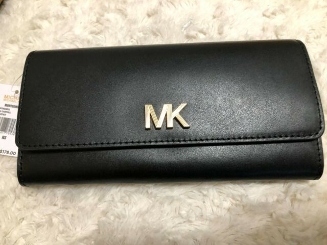 Michael Kors Montgomery Carryall Continental Clutch Wallet Msrp $178 Black/Gold