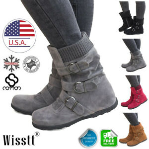 Winter-Womens-Warm-Shoes-Snow-Boots-Fur-Lined-Ankle-Buckle-Flat-Suede-Shoes-Size