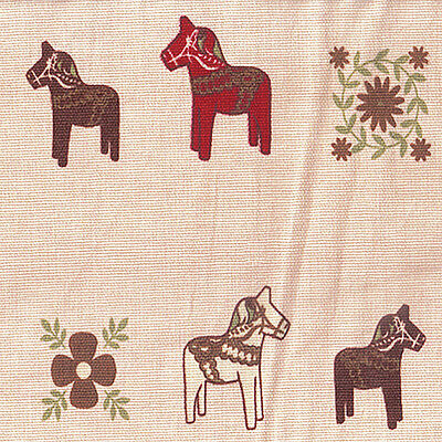 COTTON 100% UPHOLSTERY CURTAIN FABRIC WOODEN HORSE DONKEY ALLOVER BEIGE 44'W BTY