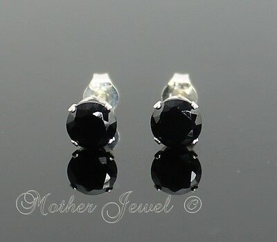 Real SOLID 925 STERLING SILVER 5mm Black Simulated Diamond Stud Unisex Earrings