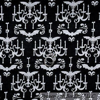 BonEful Fabric Cotton Quilt Black White B&W Dot Skeleton Skull Halloween L SCRAP