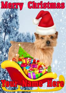Norfolk Terrier Santa Sleigh nnc162 Xmas Christmas Card A5 Personalised Greeting - Chesterfield, United Kingdom - Norfolk Terrier Santa Sleigh nnc162 Xmas Christmas Card A5 Personalised Greeting - Chesterfield, United Kingdom