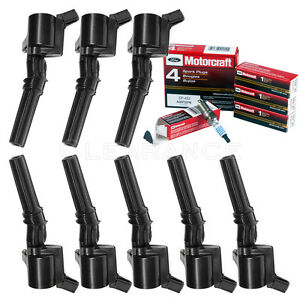 Set-of-8-Ignition-Coils-For-Ford-Lincoln-DG508-amp-8-Motorcraft-Spark-Plugs-SP493