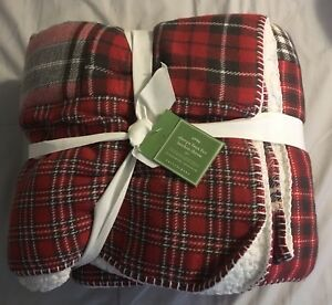 Pottery Barn Landon Plaid Sherpa Patchwork Sofa Throw 55
