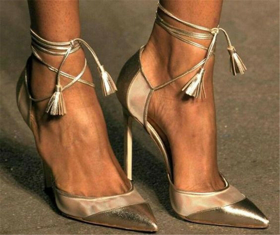 Women's Sexy Pointed Toe High Heels Stilettos Strappy gold Tassels Prom shoes