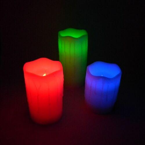 3er Set LED Echtwachs Kerzen mit TIMER Fernbedienung flackernd Farbwechsel Kerze