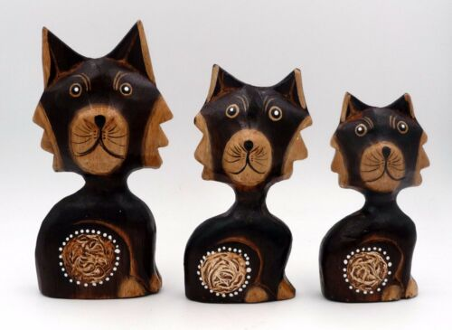3 ADORABLE WOODEN CATS Perfect Gift for Feline Fan Brown Animal Ornaments