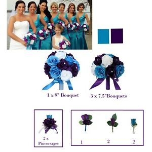 wedding-bridal-party-bouquet-corsage-boutonniere-purple-malibu-rose-silk-flower