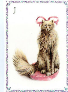 Details about French Postcard Grey Cat Kitten Pink Bed Bows Armelle Boy J  Letter Name Surname