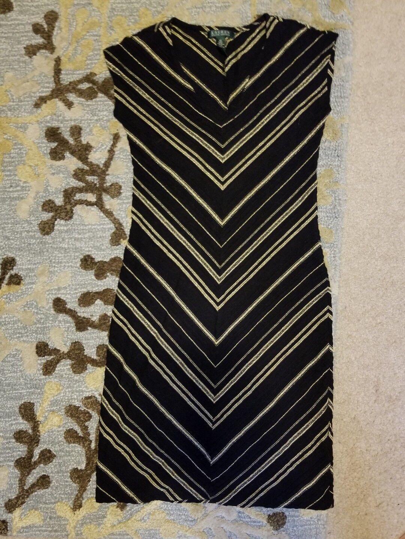 Ralph Lauren schwarz & Gold Chevron V Neck Sheath DRESS  Größe xs