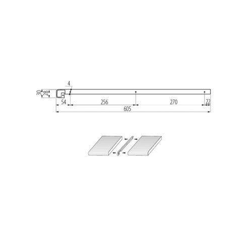 Barra de finalización brillo barras de ángulo encimera cocina barra de conexión 28mm