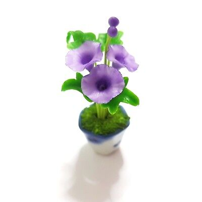 Violet Morning Glory Clay Flower Pot  Dollhouse Miniature Handmade Collectible