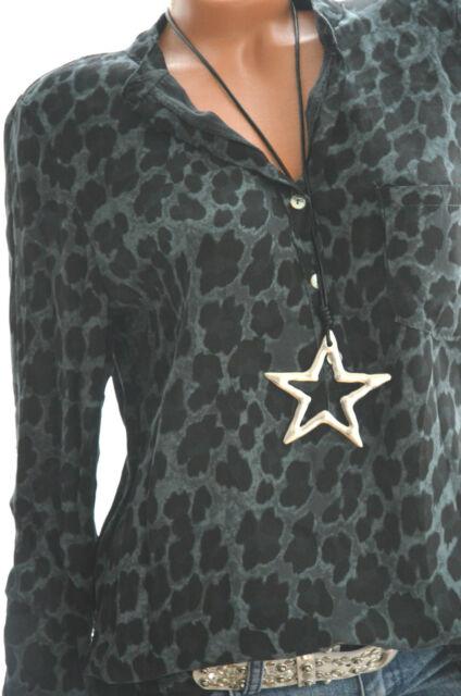 ITALY Animal Tunika LEO PRINT Hemd OVERSIZE Bluse 38 40 42 Petrol Schwarz NEU