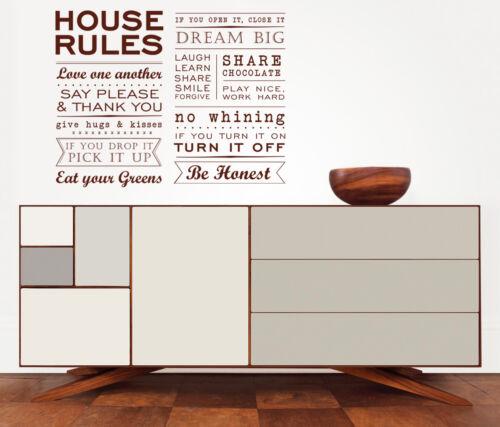 House Rules Famille Amour Stickers Moderne Citation Art Mural Maison Décorations