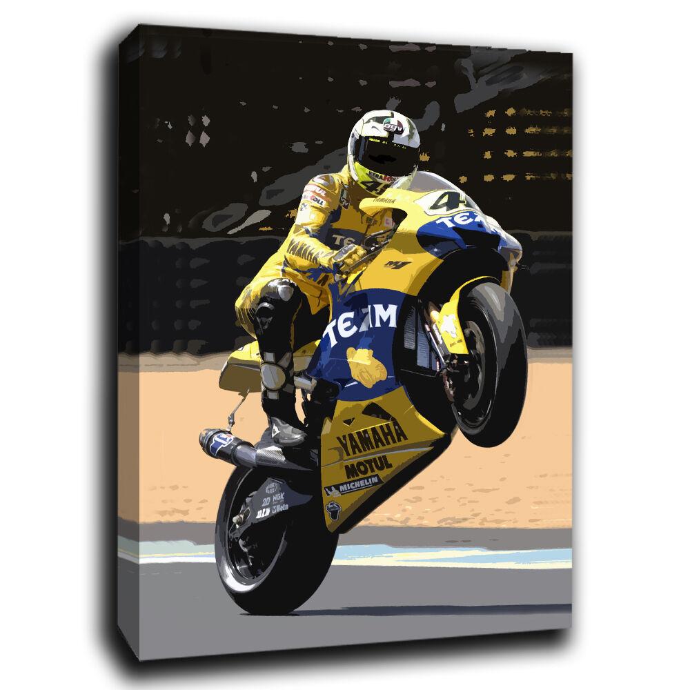 Valentino Rossi Gelb yamaha Moto GP Canvas Art Art Art Print Various Größes yn 35d8fd