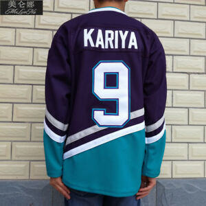 2dc791e347e Anaheim Mighty Ducks Movie Jerseys  9 Kariya Jersey Purple Green ...