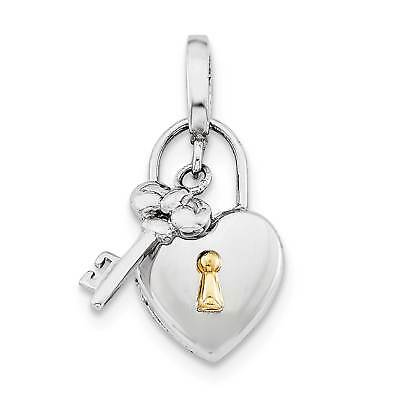 925 Sterling Silver /& Gold Plated Small Lock /& Key Heart Locket Charm Pendant