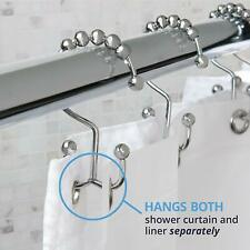Chrome MAYTEX Metal Double Roller Glide Ring Set of 12 Shower Curtain Hooks
