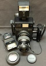 Vintage Polaroid 600 SE Instant Camera & Mamiya 150mm f/5.6 Lens 2 Flash Bundle
