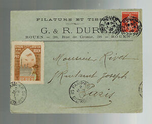 1910-Rouen-France-Early-airmail-Commercial-cover-to-Paris-Local-Issue-Air-Stamps