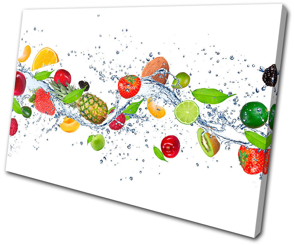 Food Kitchen Fresh Fruits splash  SINGLE TOILE murale ART Photo Print