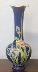"""Vintage Japanese Porcelain SATSUMA VASE SIGNED Cobalt Blue Irises 14"""" Floral"""