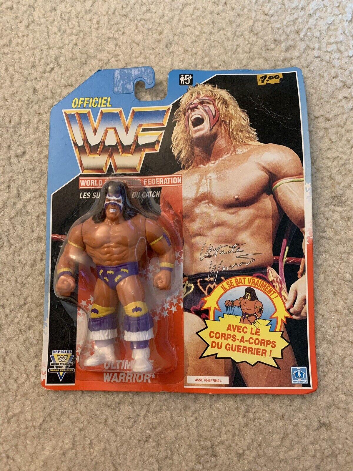 WWF Hasbro Ultimate Warrior 1992 bluee Card French Series 3 MOC Vintage WWE