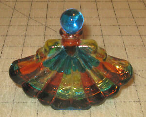 """Vintage 4.5"""" Wide FAN SHAPED RAINBOW Colored GLASS PERFUME BOTTLE - Signed"""