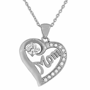 Sterling-Silver-White-Gold-Love-Heart-Mom-Mother-Crystals-CZ-Pendant-Necklace