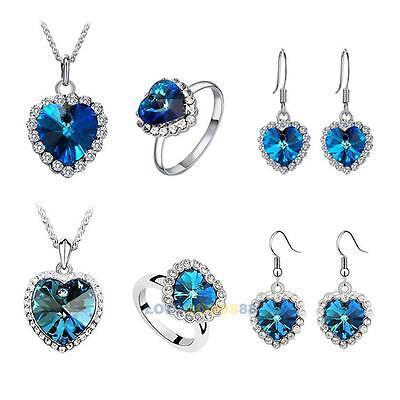 New Titanic Heart of Ocean Crystal Rhinestone Necklace Ring Earrings Set LS4G